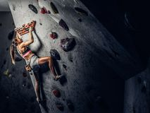Młoda kobieta jest ubranym sportswear ćwiczy pięcie na ścianie indoors fotografia stock