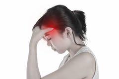 Młoda kobieta ma migrena odizolowywającego białego tło, pojęcie o obraz royalty free