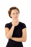 młoda kobieta myślące Ręka na podbródku odosobniony fotografia royalty free
