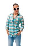 Młoda kobieta niezobowiązująco ubierająca Zdjęcia Stock
