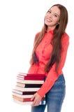 Młoda kobieta odizolowywająca na bielu Obraz Royalty Free