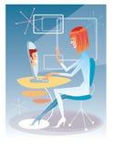 Młoda kobieta opowiada na komputerze z młodego człowieka futuristi ilustracja wektor