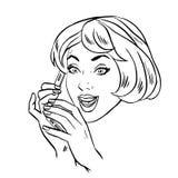 Młoda kobieta opowiada na smartphone retro kreskowej sztuce ilustracja wektor