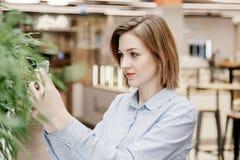 Młoda kobieta opowiada przez telefonu Dziewczyna siedzi przy stołem i robi rozkazowi kobieta jednostek gospodarczych Obrazy Stock