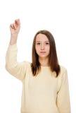 Młoda kobieta palców skrzyżowanie, modlenie, christening Fotografia Stock