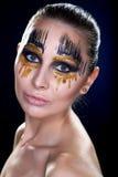 Młoda kobieta patrzeje kamerę z fantazją uzupełniał twarzy sztuki studia strzał Obraz Stock