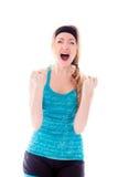 Młoda kobieta patrzeje udaremniający i krzyczeć fotografia royalty free