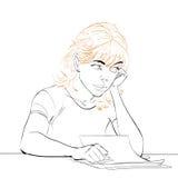 Młoda kobieta pisze liście ilustracja wektor