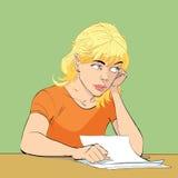 Młoda kobieta pisze liście royalty ilustracja