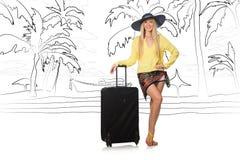 Młoda kobieta podróżuje tropikalną wyspę w podróży pojęciu Obraz Royalty Free