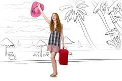 Młoda kobieta podróżuje tropikalną wyspę w podróży pojęciu Zdjęcie Stock