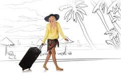 Młoda kobieta podróżuje tropikalną wyspę w podróży pojęciu Obrazy Royalty Free