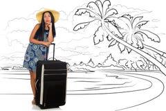 Młoda kobieta podróżuje tropikalną wyspę w podróży pojęciu Fotografia Royalty Free