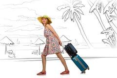 Młoda kobieta podróżuje tropikalną wyspę w podróży pojęciu Fotografia Stock
