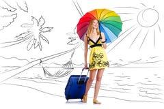 Młoda kobieta podróżuje tropikalną wyspę w podróży pojęciu Obrazy Stock