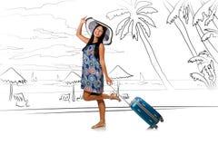 Młoda kobieta podróżuje tropikalną wyspę w podróży pojęciu Zdjęcia Stock