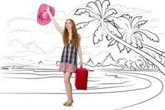 Młoda kobieta podróżuje tropikalną wyspę w podróży pojęciu Obraz Stock