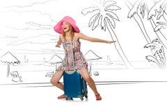 Młoda kobieta podróżuje tropikalną wyspę w podróży pojęciu Zdjęcie Royalty Free