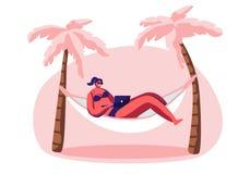 Młoda Kobieta Pracuje na laptopu lying on the beach w hamaku ilustracja wektor