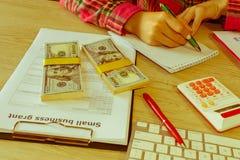 Młoda kobieta pracuje w domu, siedzący przy biurkiem, używać komputer Biznesowa dotacja i finanse pojęcie obrazy royalty free