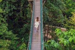 Młoda kobieta przy zawieszenie mostem w Kuala Lumpur, Malezja fotografia stock