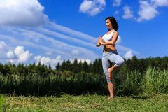 Młoda kobieta robi joga plenerowy obraz stock