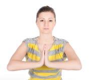 Młoda kobieta robi sprawności fizycznych ćwiczeniom odizolowywającym na białym tle Obraz Stock