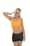 Młoda kobieta - sprawność fizyczna model - w studiu obrazy stock
