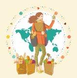 Młoda kobieta target1084_1_ groceri torba na zakupy pełno Fotografia Royalty Free