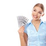 Młoda kobieta trzyma sześć dolarów rachunków obrazy royalty free