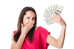 Młoda kobieta trzymający dolarowych rachunki Fotografia Stock
