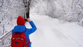Młoda kobieta używa smartphone dla robi fotografiom pięknej zimy śnieżysty krajobraz zbiory wideo