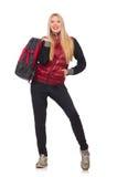 Młoda kobieta uczeń z plecakiem odizolowywającym Zdjęcie Royalty Free