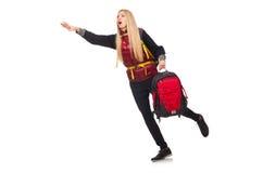Młoda kobieta uczeń z plecakiem odizolowywającym Obraz Royalty Free