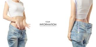 Młoda kobieta w cajgu ciężaru straty ciężaru stracie z centymetra setu wzorem Fotografia Stock