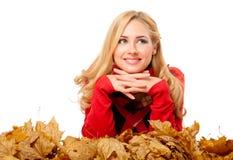 Młoda kobieta w czerwonym pulowerze zdjęcia royalty free