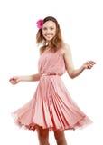 Młoda dama w menchii sukni Obrazy Stock