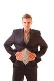 Młoda kobieta w odizolowywającym biurowym kostiumu Fotografia Royalty Free