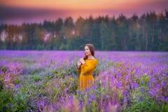 Młoda kobieta w polu Fotografia Royalty Free