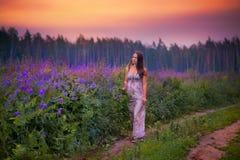 Młoda kobieta w polu Obraz Royalty Free