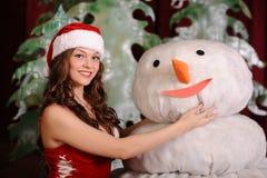 Młoda kobieta w snowgirl sukni zdjęcia stock