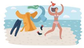 Młoda kobieta w swimsuit bieg w seawater iść pływać ilustracja wektor