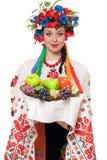 Młoda kobieta w Ukraińskim obywatelu odziewa Obrazy Stock