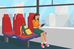 Młoda kobieta wyszukuje pastylkę w jawnej pojazdu lub pociągu wektoru ilustraci z plecakiem Obrazy Royalty Free