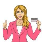 Młoda kobieta z bank karty wystrzału sztuki retro raster Na białym tle Komiks stylowa imitacja zaciemnia royalty ilustracja