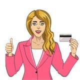 Młoda kobieta z bank karty wystrzału sztuki retro wektorem Na białym tle Komiks stylowa imitacja zaciemnia ilustracji