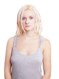 Młoda kobieta z blondynek dreadlocks Fotografia Stock
