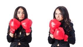 Młoda kobieta z bokserską rękawiczką Obraz Royalty Free