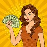 Młoda kobieta z gotówkowym dolara wystrzału sztuki wektorem Zdjęcie Stock