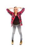 Młoda kobieta z jej rękami wokoło jej oczu Zdjęcia Stock